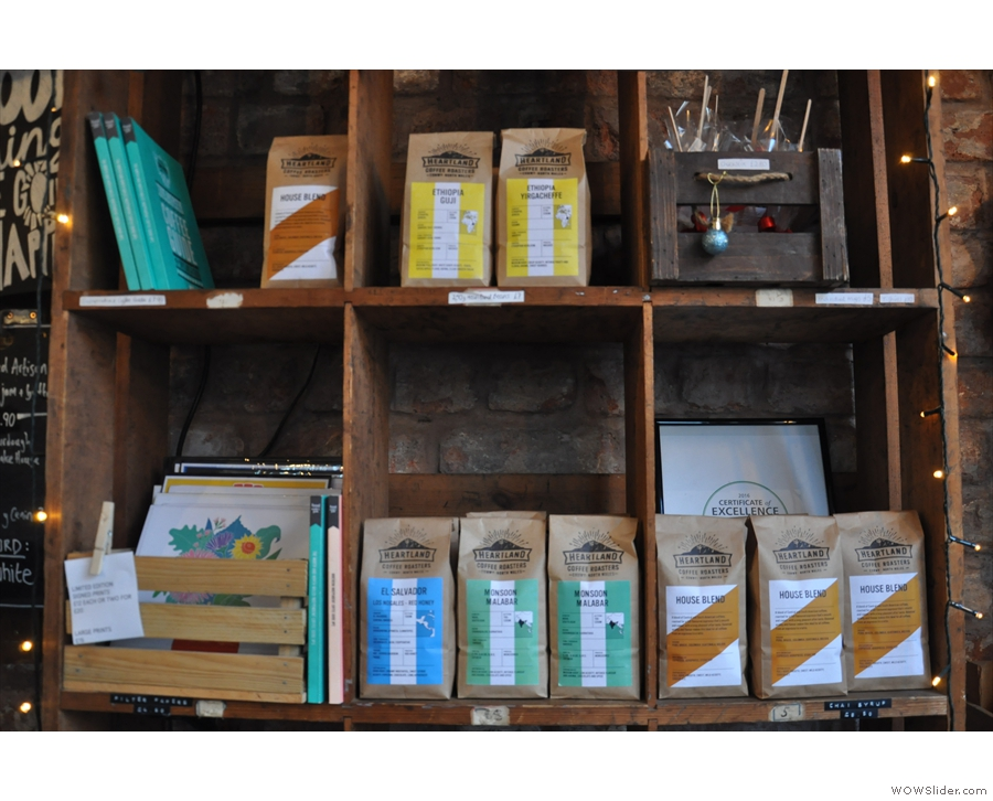 Some of the wide selection of beans from the local Heartland Coffee Roasters.