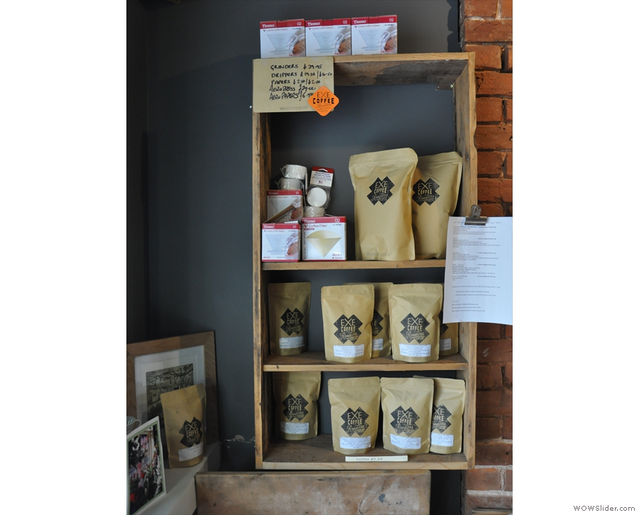 You can buy all of Exe Coffee Roasters output from the retail shelves on the left wall.