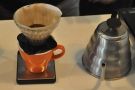 Next, grind them and put into the filter, in this case, a V60.
