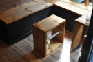 I love these clever wooden tables and benches, custom-built for Small St Espresso.