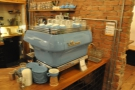 The La Marzocco espresso machine is worth a look: its custom paint job matches the cups.