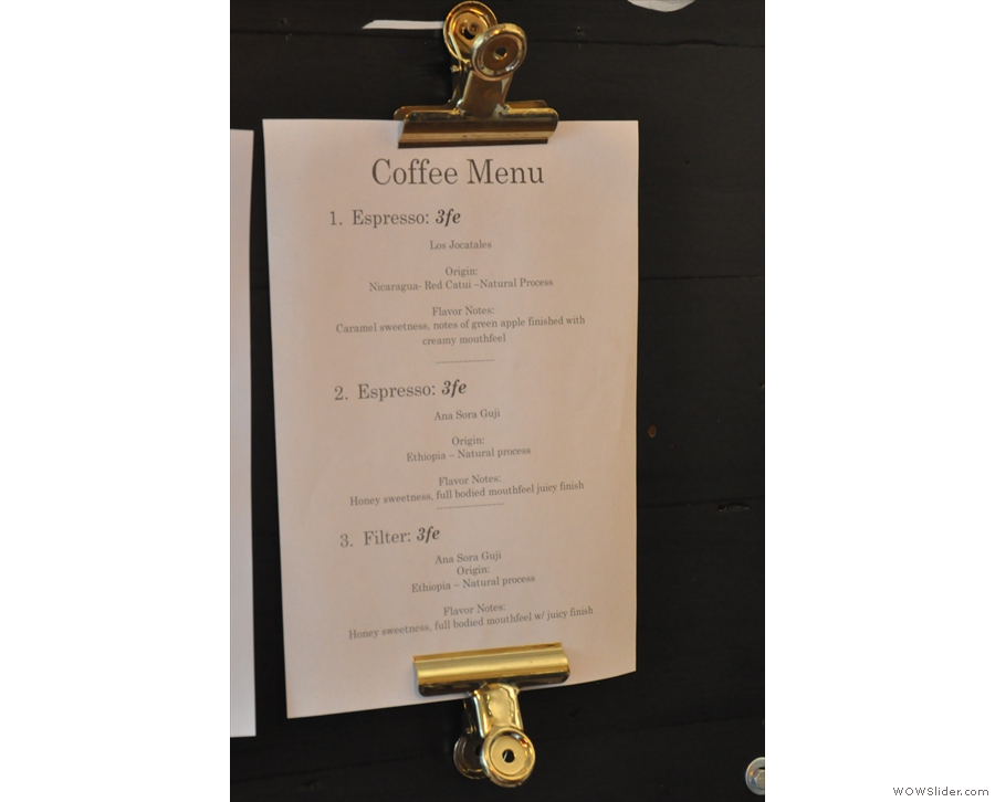 The right-hand part lists the coffee available on espresso and bulk-brew filter.