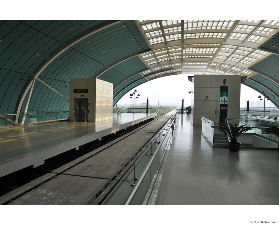 Longyang Road station, Shanghai, waiting for the Maglev train to the airport.