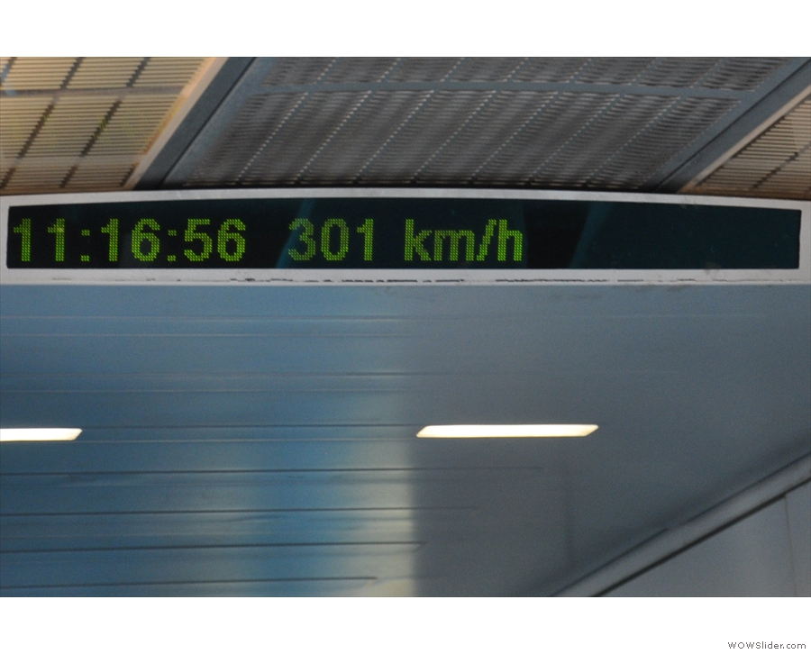... and less than two minutes to reach our maximum speed of 300 km/h.