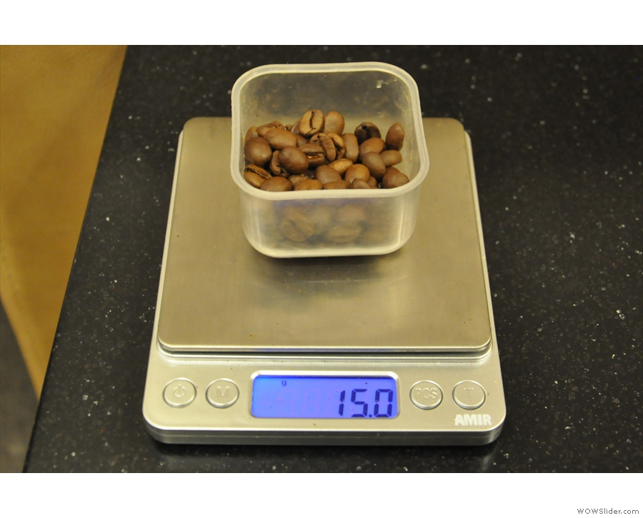Out come the scales and the coffee beans: have to do this properly!