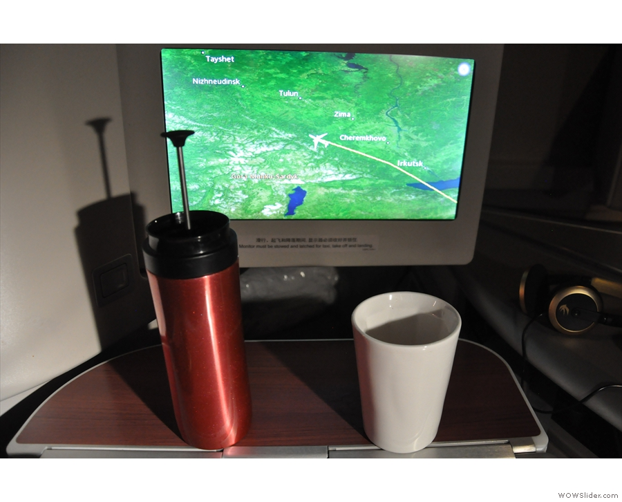 Enjoying coffee over Russia at just about the point I woke up on the flight to China.