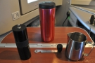 ... which, I think, calls for coffee. Here's my Aergrind and Travel Press so I'm in business!