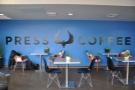 I liked the logo on the back wall. And the gorgeous blue, which is Press Coffee's colour.