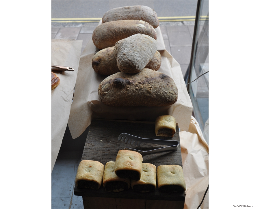 Meanwhile, in the window, there's the bread, baked fresh each morning...