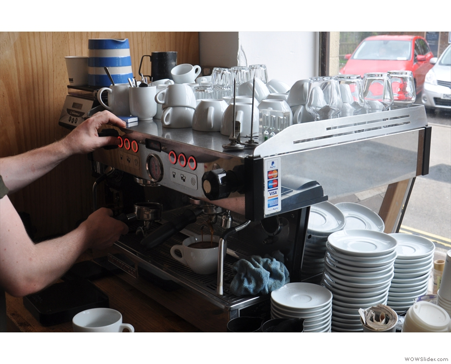 The machine itself is well-placed for those who like watching their coffee being made.