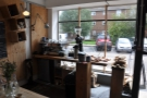 The window is used to display the bread and is also home to the espresso machine.