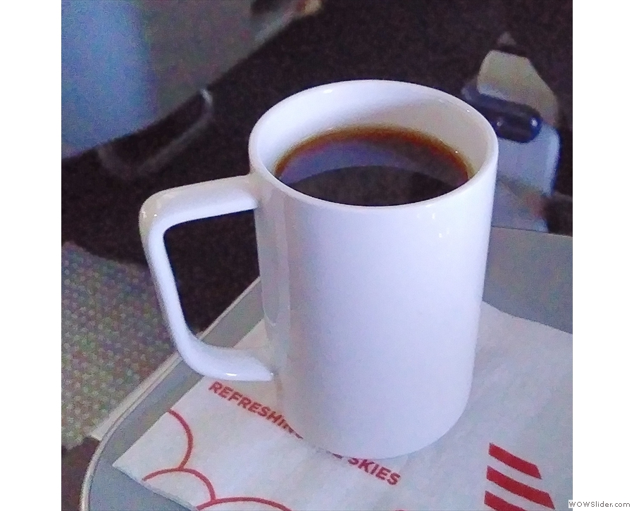 I also tried the airline coffee. It was okay.