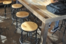 ... with seating provided by stools eight low stools.