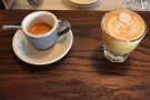 I had a split shot: espresso on the left, cortado on the right.