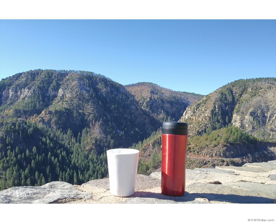 My coffee was most taken by the view. Here it is looking across the canyon...
