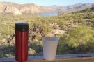 After a week of work, it was time to explore. Here's my coffee overlooking Canyon Lake.