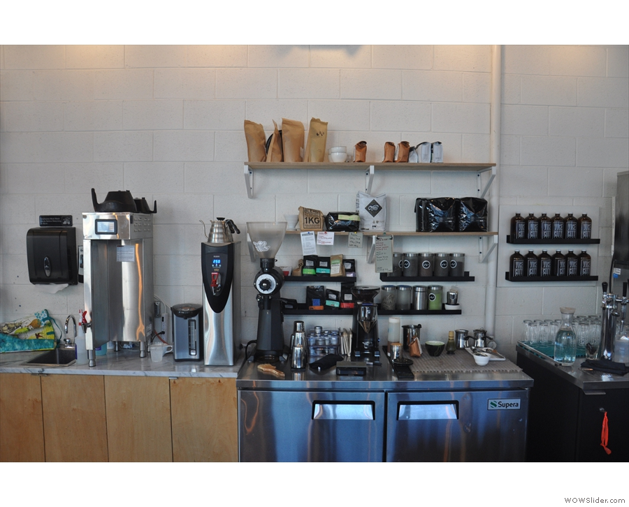 The bulk-brew is made at the back of the counter where you'll also find the filter grinders.
