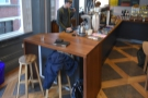 Finally, there are two more stools perched at the end of the counter.