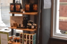 More retail shelves, where you'll find coffee beans, are at the other end of the counter.