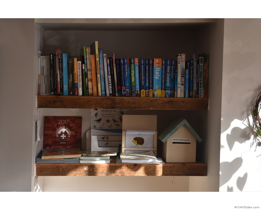 Back inside, and there are lots of neat feature, such as this travel book shelf...