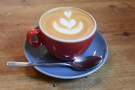 ... and here's my flat white, made with the Colombian decaf from roasters, Smith Street.