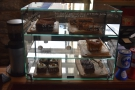There are also homemade cakes in the cabinet next to the espresso machine...