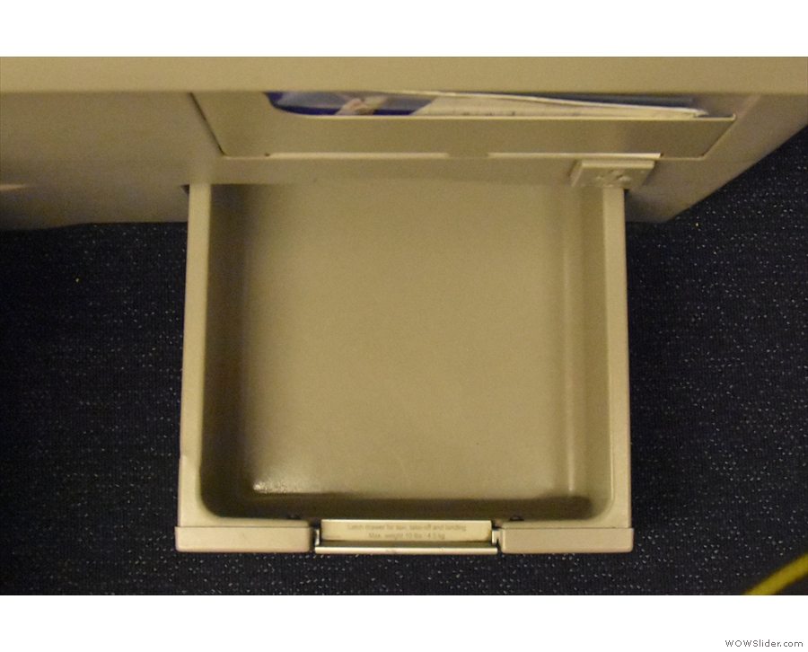 One feature I don't recall from the last 747: a handy drawer, big enough for my laptop.