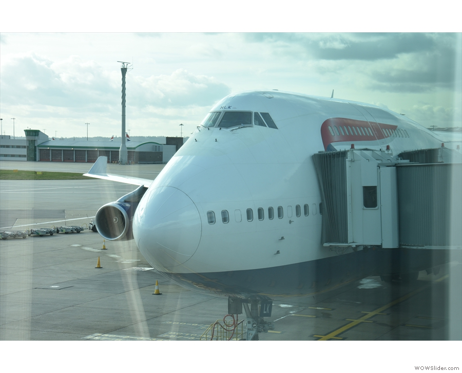 My Boeing 747 for the flight back to London, seen here on the stand at Heathrow.