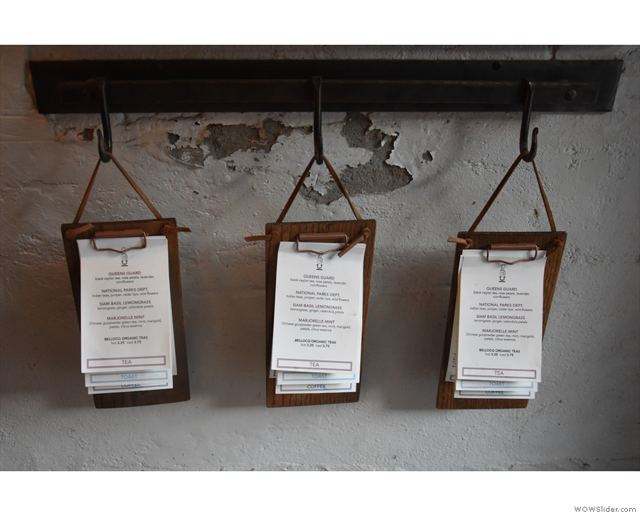 Finally, these clipboard-style menus are hung up so that you can take one to your table.