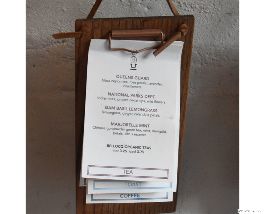 The menus start with the tea selection...