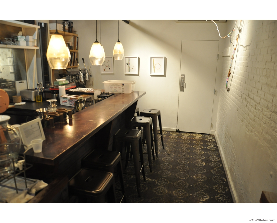 Finally, the counter continues, where you'll find more seating, again on high stools.