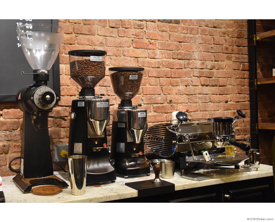 ... while your coffee is made using the single-group Kees van der Westen on the right.