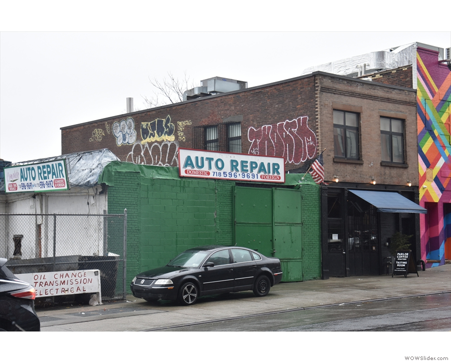 On Brooklyn's Vanderbilt Ave, sandwiched between an auto repair workshop on one side...