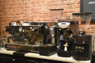The two-group La Marzocco on the left is used for training Parlor's wholesale customers...