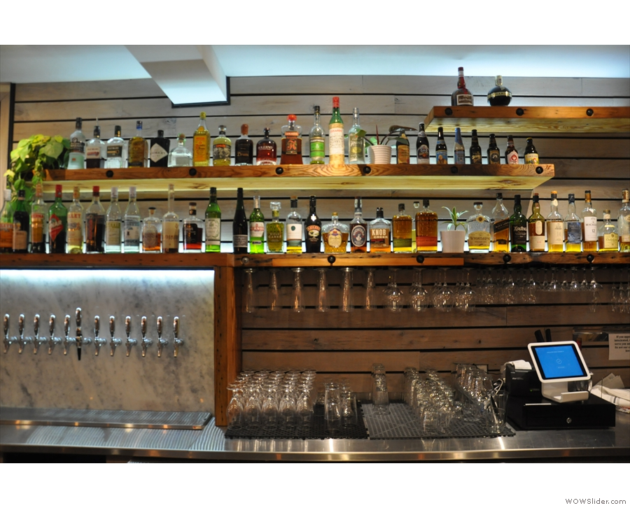And here's the fully-stocked bar. The photo of the menu, by the way, was from 2016.