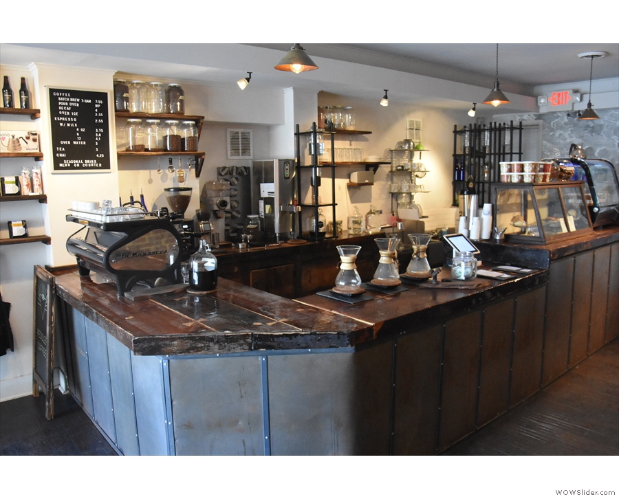 The counter is a large affair, dominating the back of Peddlar, coffee to the fore...
