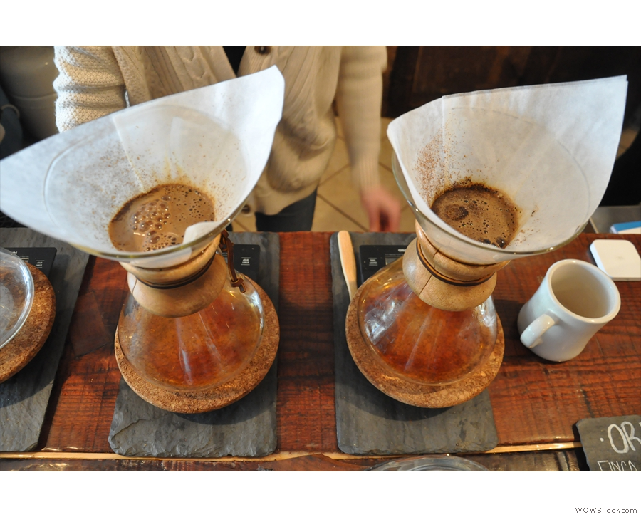 Peddler Coffee's main thing is the use of the Chemex. Here two are on the go...