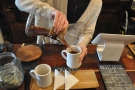 Then, once the coffee has all filtered through, pour to serve.