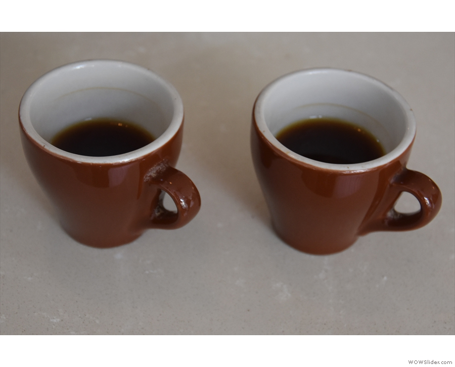 Naturally, Max made me try them too. #2 is on the left, the Guatemalan on the right.