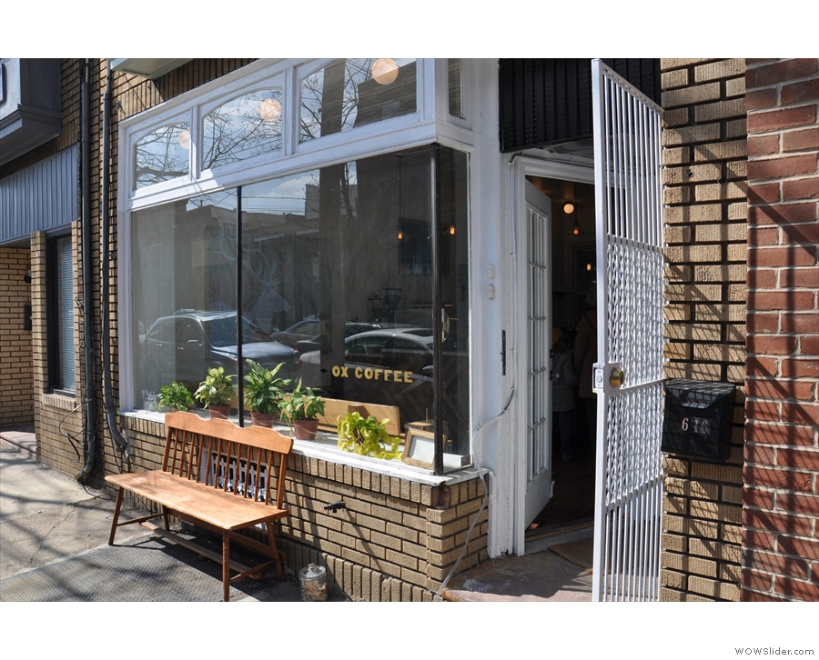 On sunny 3rd Street in Philadelphia, you'll find Ox Coffee, complete with bench outside.