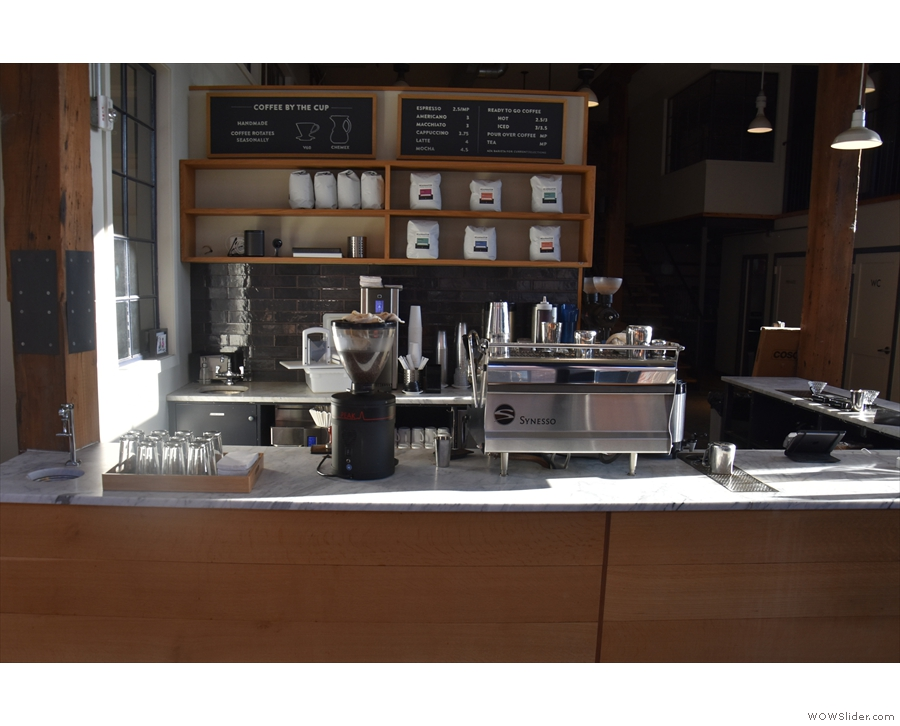 To business. The espresso end of the counter faces the front...