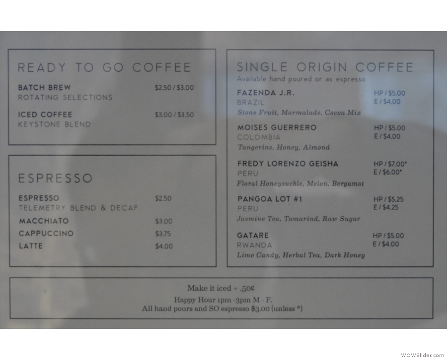 Now you can have the blend, decaf and any of the five single-origins as an espresso.