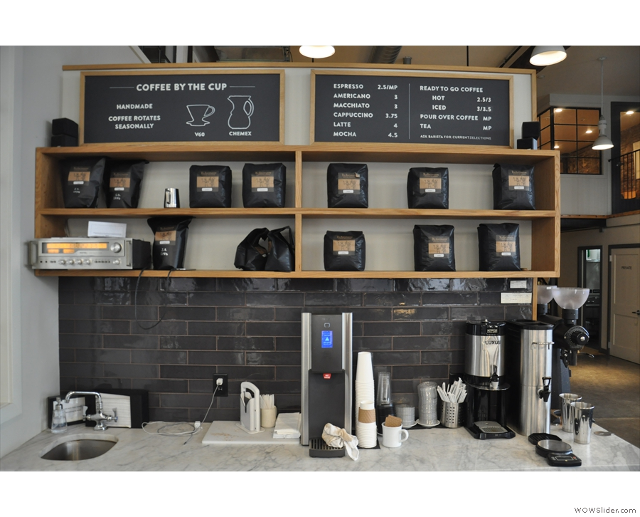 Bulk-brew, meanwhile, along with the menu, are on the wall behind the espresso machine.