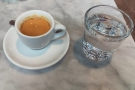 I had a shot of the La Union Colombian single-origin, served with a glass of water.