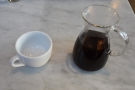 Pleasingly, the coffee is served in the carafe, with the cup on the side...