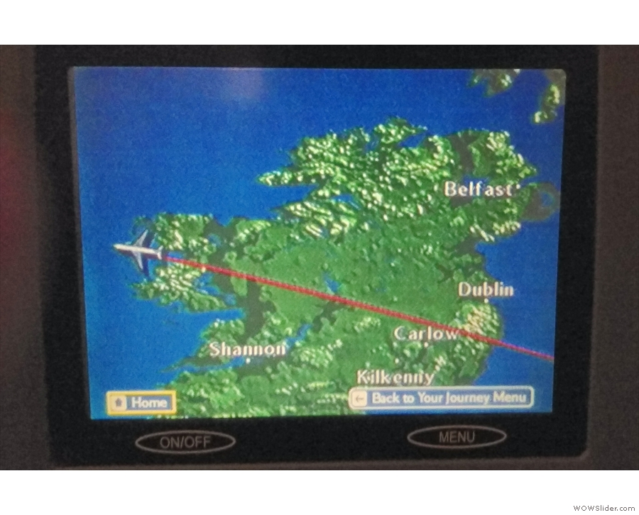Just as we're crossing the Irish coast and heading out over the Atlantic...
