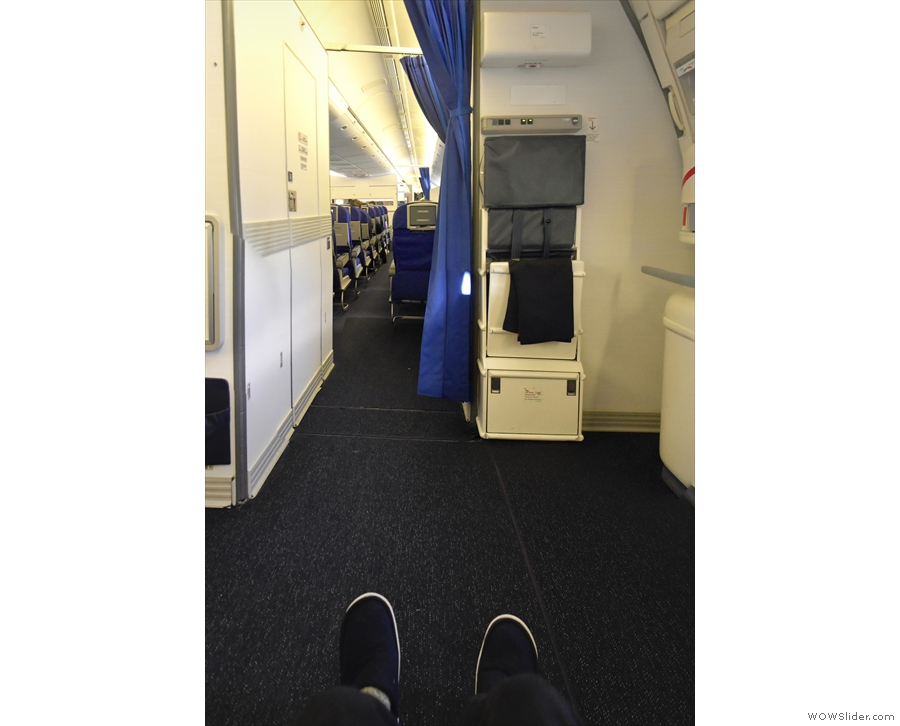 I have my usual exit row seat. Behold my leg room!