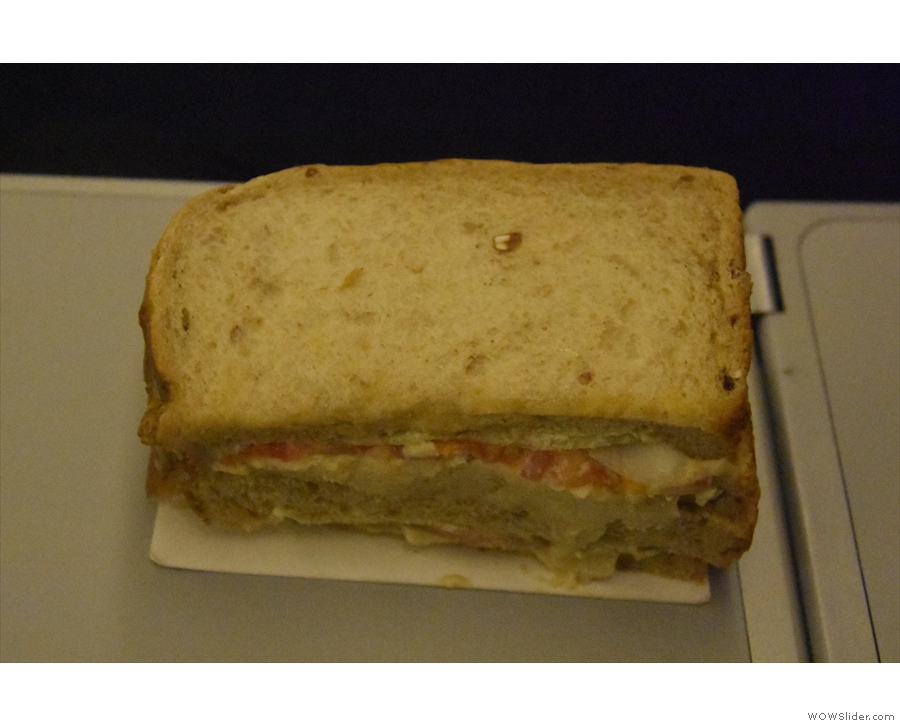 ... a pre-landing snack. This sandwich, in fact. It was far better than I've made it look!