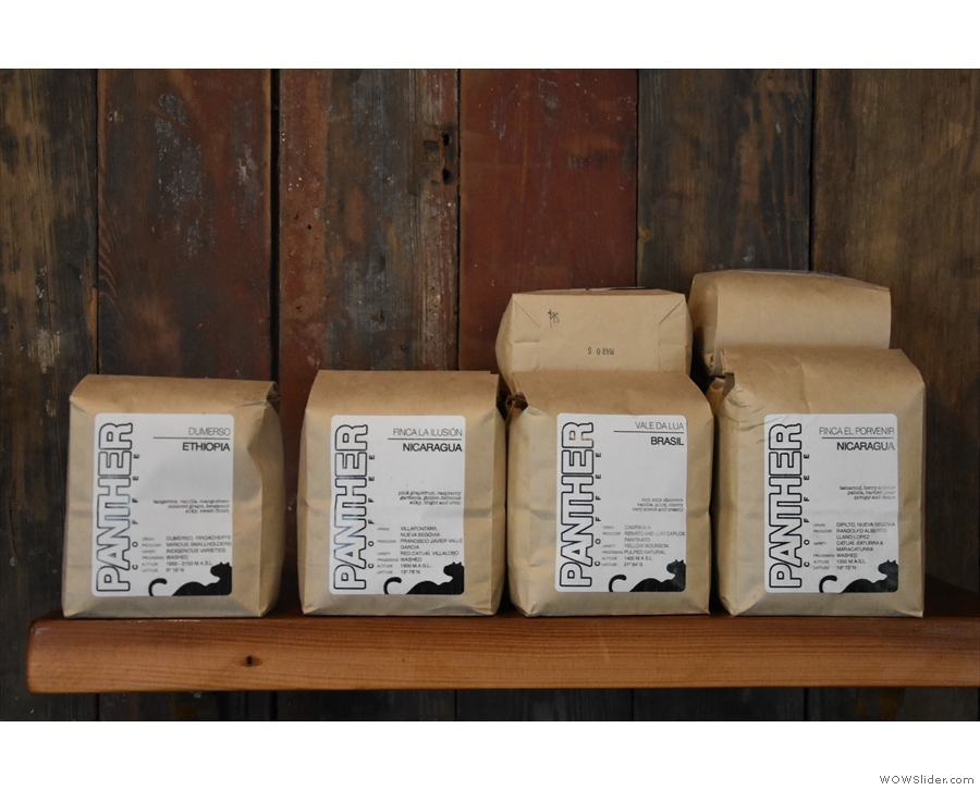 Panther Coffee serves as the house-roaster, with the various single-origins for sale.