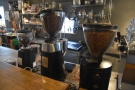 ... and its three grinders (house, guest and decaf).